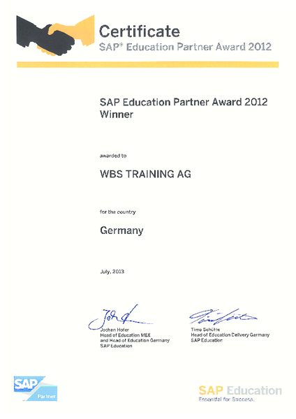 SAP® Education Partner Award Urkunde